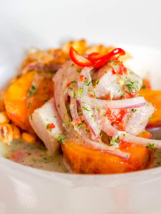 peruvian ceviche on top of sweet potatoes and topped with paper thin red onions