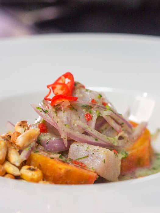 Authentic Peruvian ceviche with mahi mahi