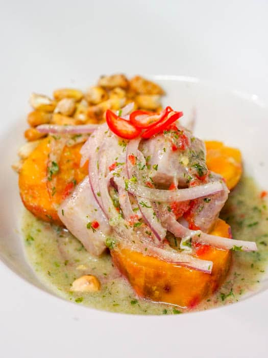 Appetizer of Authentic Peruvian Ceviche with Mahi Mahi