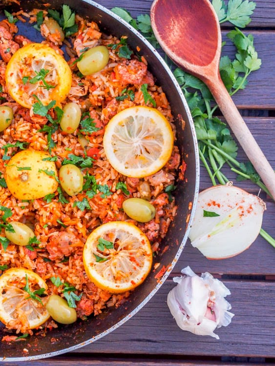 one pan mediterranean rice with sausage, lemon and olives
