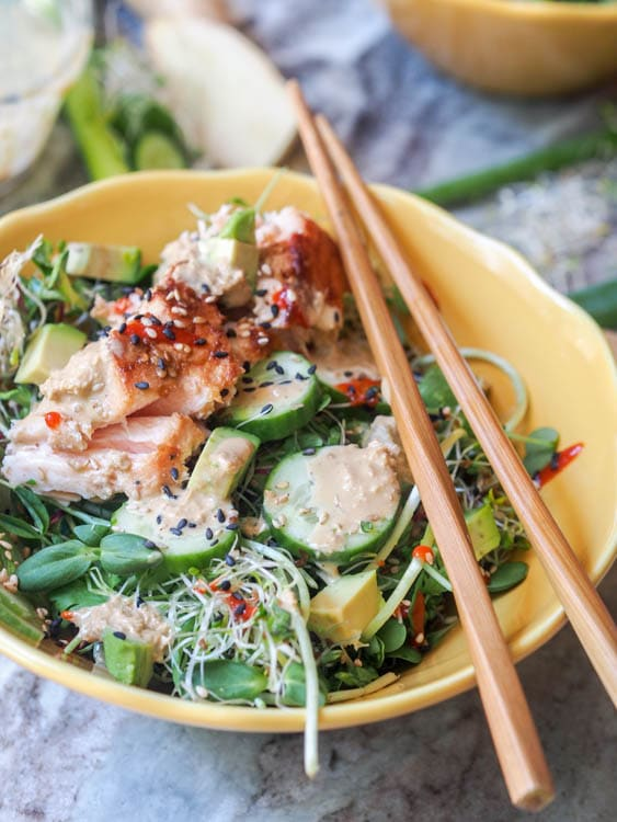 Asian Salmon Salad with Sesame Ginger Dressing