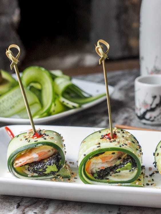 Asian Shrimp Appetizer in Avocado Wasabi Aioli Cucumber Rolls