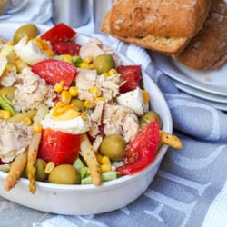 Spanish Mixed Salad with Tuna, Corn and Olives is a super refreshing and nutritious low fat, low carb quick lunch or dinner option. Eight ingredients is all you need for your new favorite salad! Gluten Free and Dairy Free. | avocadopesto.com