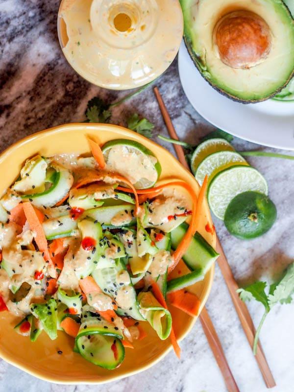 large bowl of Vegan Asian Carrot Salad