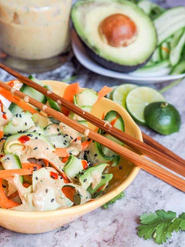 Vegan Asian carrot Salad with Ginger Carrot Sesame Dressing {Gluten-Free}