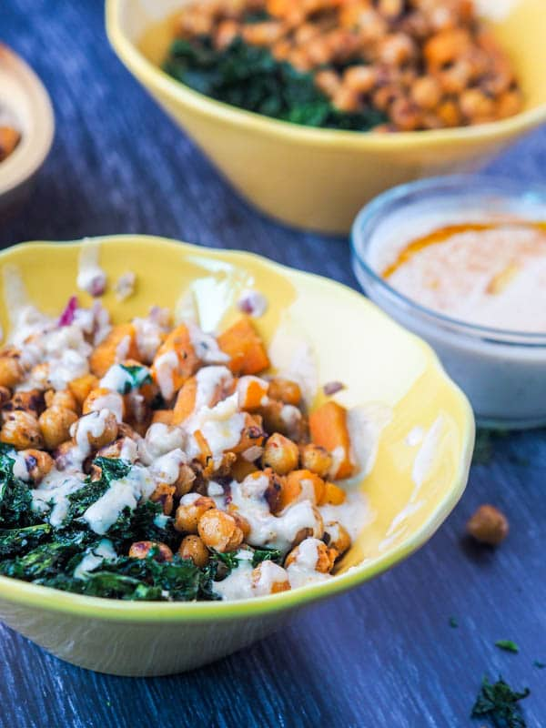 Vegan Power Bowls with Sweet Potatoes and Kale