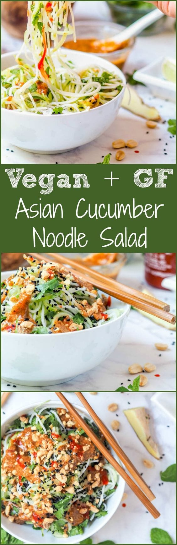 Vegan + GF Asian noodle salad mad with cucumbers, rice noodles, mint + cilantro and topped with a creamy almond ginger dressing. Ready in 30 mins. Light yet filling enough for a full meal. #vegan #noodle #healthy #asian