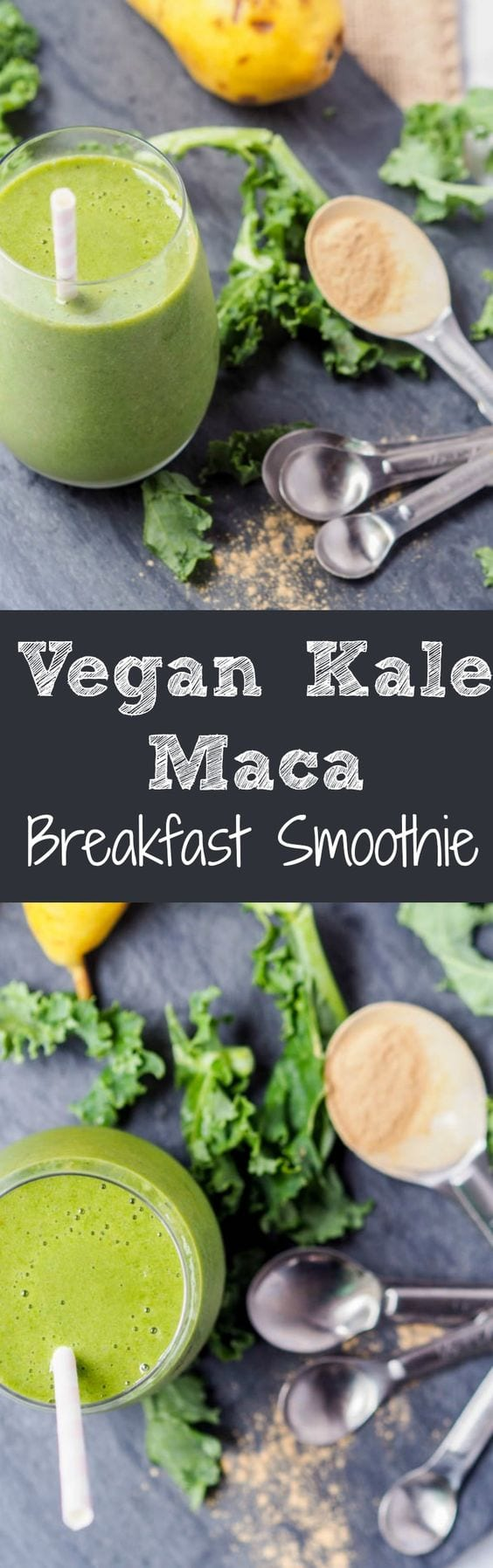Super simple 5 minute 4 ingredient superfood kale smoothie with added vitamins and nutrients from the Peruvian superfood maca, banana, and pear. This breakfast smoothie is packed full of fiber, vitamins A and C #superfood #smoothie #vegan #breakfast #healthy