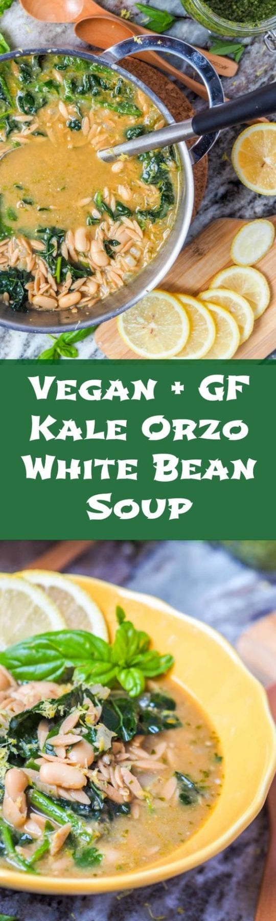 This eight ingredient vegan orzo soup with kale, white bean and pesto comes together in 30 minutes and is hearty enough for a full meal. Perfect for cooler fall nights. Gluten Free. #soup #vegan #healthy