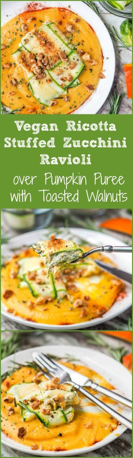 Your favorite fall pumpkin rosemary flavors topped with a vegan ricotta stuffed zucchini ravioli and sprinkled with toasted walnuts. Dinner doesn't get better than this. Who knew it'd be so easy to make zucchini ravioli paleo, low carb and gluten free? #vegan #paleo #zucchini #ravioli #dinner #healthy