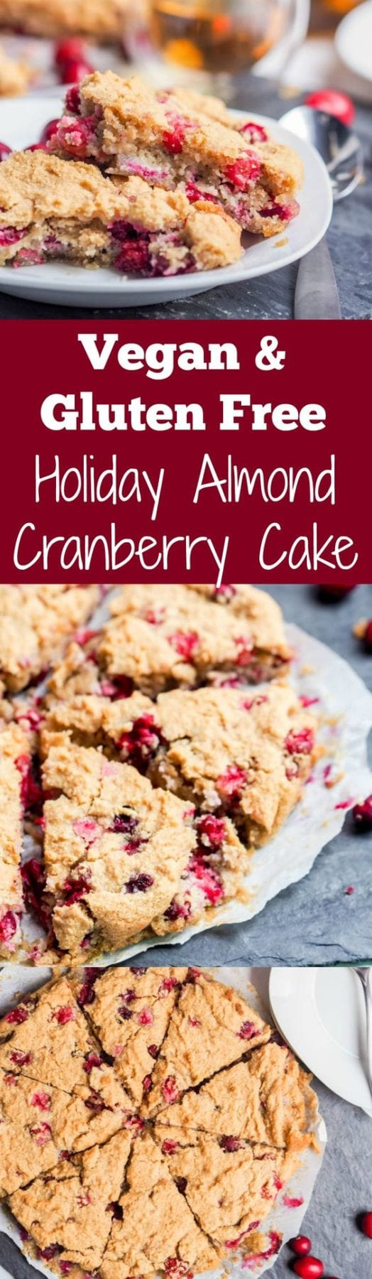 5 ingredient vegan and gluten free HOLIDAY almond cake with cranberries and aquafaba in place of egg whites for a light and fluffy fall and winter cake. Refined Sugar Free & High Protein (9 grams of protein per slice) too. | avocadopesto.com #ad @Bob's Red Mill #BobsHolidayCheer #cake #vegan #dessert #holidays