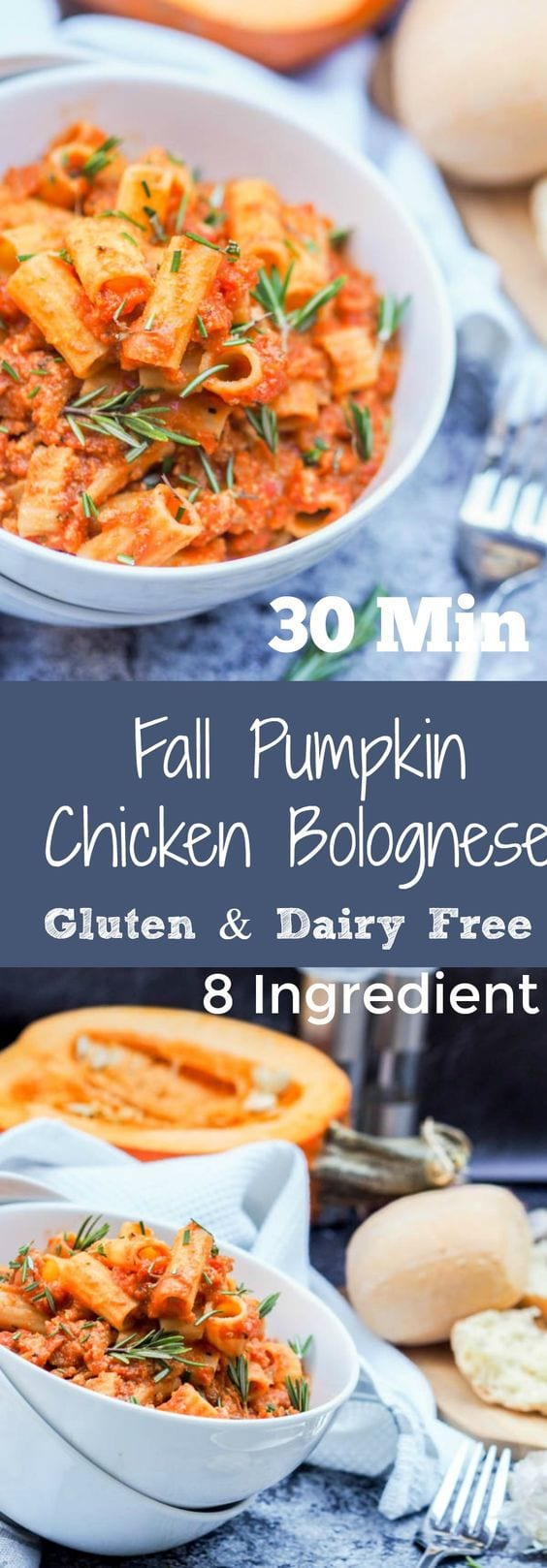 Only eight ingredients needed for this 30 minute fall weeknight favorite Chicken Bolognese with Pumpkin and Rosemary. The ultimate easy to make comfort meal. Pasta for the win. Dinner is served.  #ad @Walmart #pickedatpeak #pasta #chicken #pumpkin #healthy #dinner