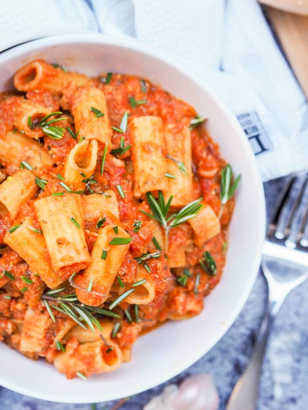Chicken Bolognese pasta with creamy coconut milk Pumpkin and Rosemary sauce