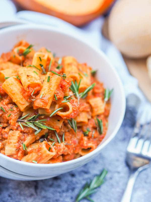 Chicken Bolognese pasta with Pumpkin and Rosemary