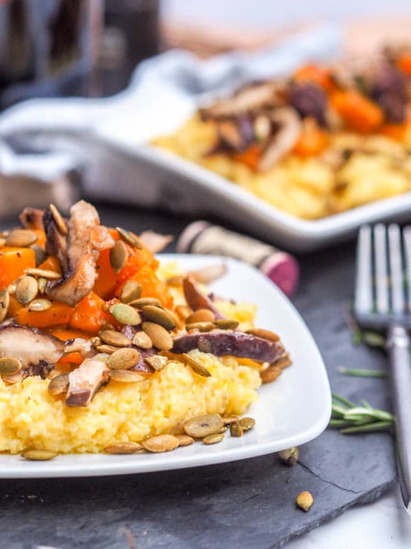 Creamy Polenta with Shiitakes Roasted Squash and Pumpkin Seeds