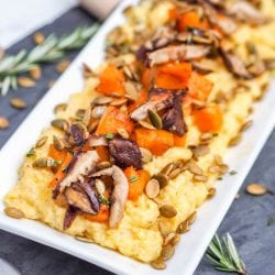 Vegan Creamy Polenta with Shiitakes, Roasted Squash and Pumpkin Seeds {GF}