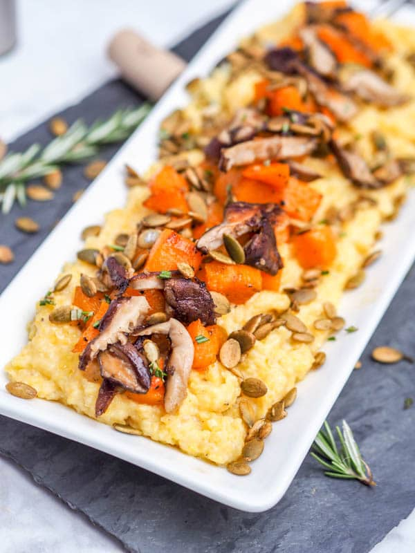 Vegan creamy Polenta with Shiitakes Roasted Squash and Pumpkin Seeds