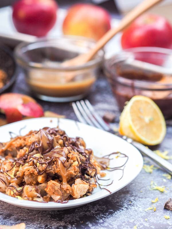 Gluten Free Apple Crisp with Walnut Graham cracker Topping
