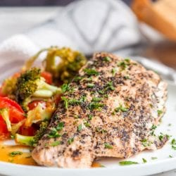 Parchment Salmon with Broccoli, Red Pepper, Tomato Parcels {GF, DF}