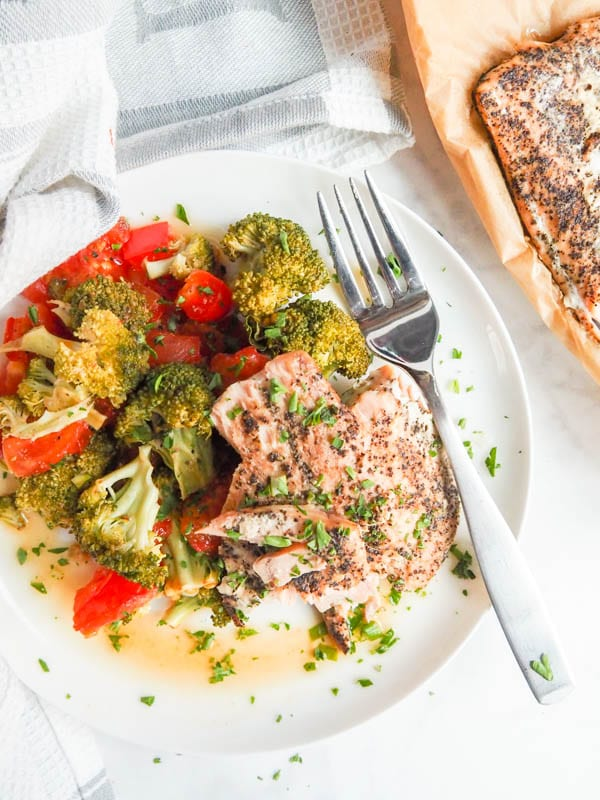 Plate of Oven Roasted Salmon Recipe with Broccoli, Red Pepper and Tomatoes