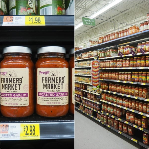prego farmers market roasted garlic tomato pasta sauce and the aisle where it can be found at Walmart