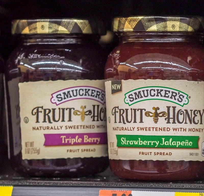 Smuckers Jam on the shelf at Walmart