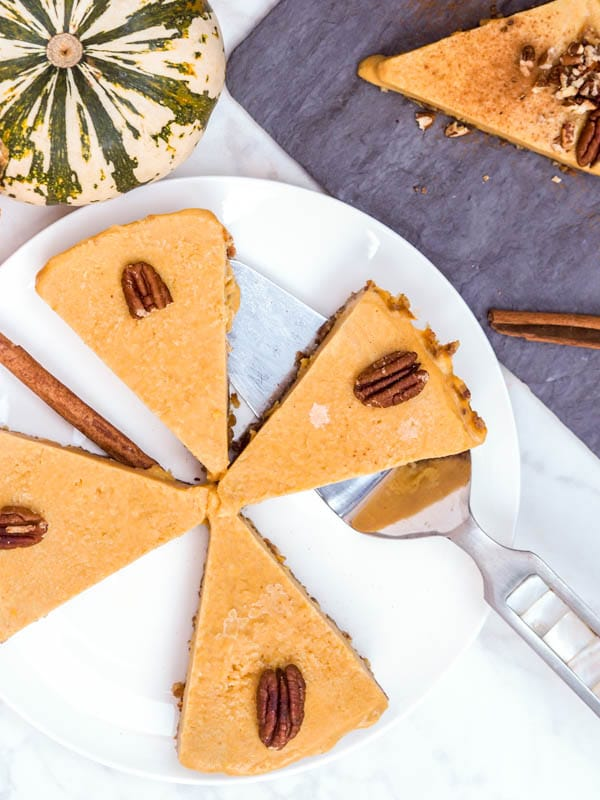 four slices of vegan pumpkin pie overhead