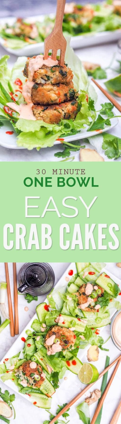 One bowl 30 minute Easy Crab Cakes with Asian flavors. Serve with a Chili Garlic Aioli for the ultimate light meal or appetizer. Gluten Free and Dairy Free. #crabcakes #seafood #healthy #glutenfree #dairyfree #appetizer