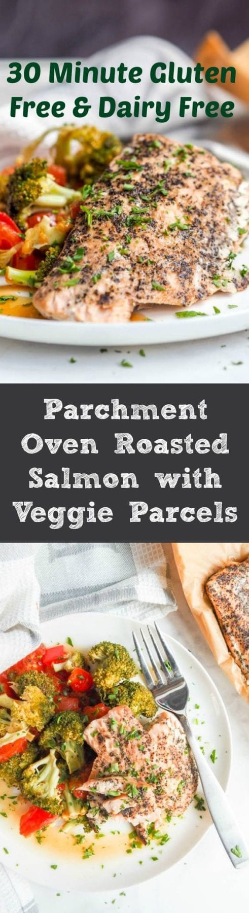 Dinner doesn't get simpler than parchment packet oven roasted salmon and broccoli, red pepper and tomato parcels. Gluten-Free, Dairy-Free, High Protein and Low Carb. A healthy dinner with minimal prep. #dinner #fish #healthy #easy