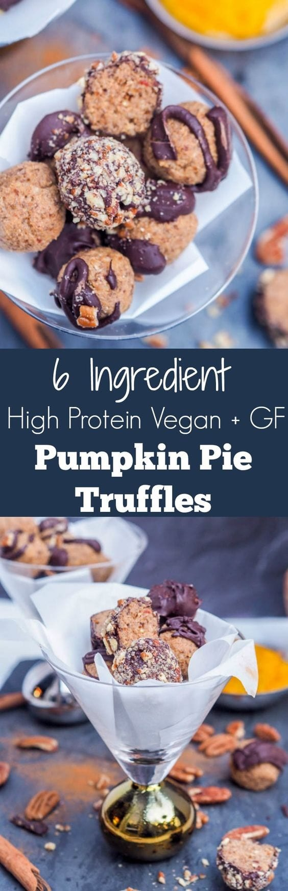 6 ingredient healthy high protein vegan, refined sugar + gluten free pumpkin pie truffles. Ready in minutes. Makes for the perfect fall treat. Sweet enough for dessert yet healthy enough as a snack.  #dessert #vegan #pumpkin #thanksgiving #healthydessert