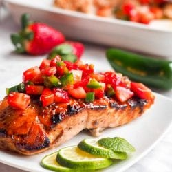 Strawberry Salmon with Jalapeños {GF, DF}