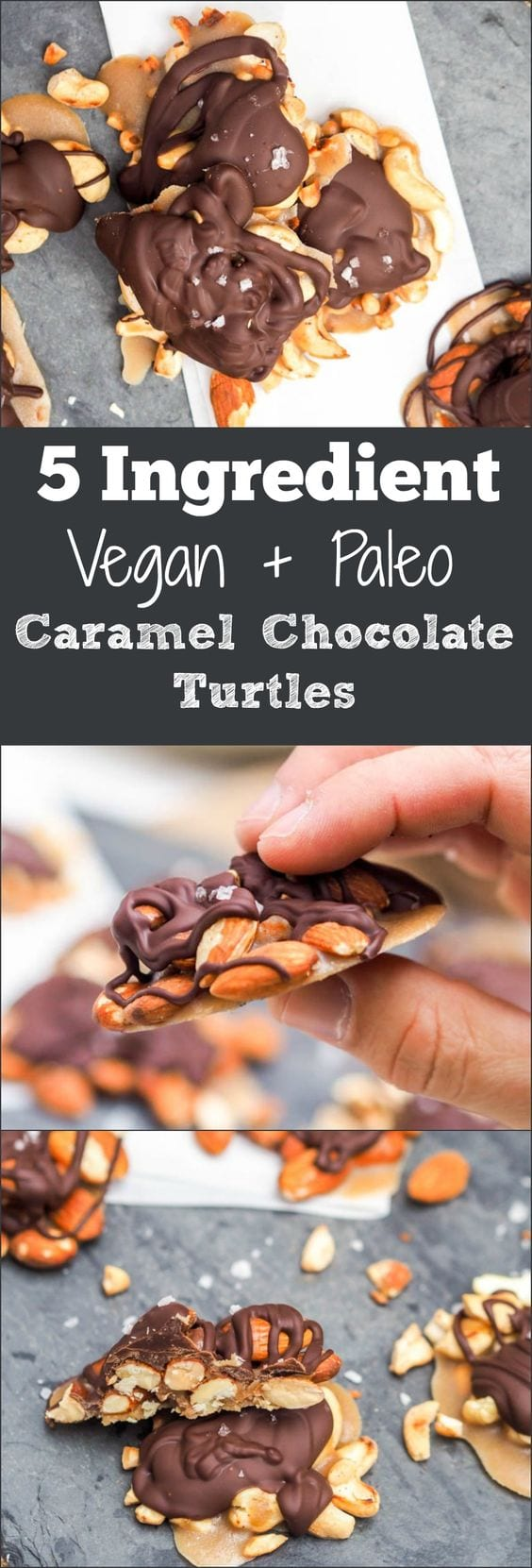 Simplified 15 minute healthier paleo + vegan caramel chocolate turtles made with only five ingredients. Gluten Free and Refined Sugar Free. Perfect for the holidays or any time you're craving a crunchy sweet salty treat!  #paleo #vegan #dessert #chocolate