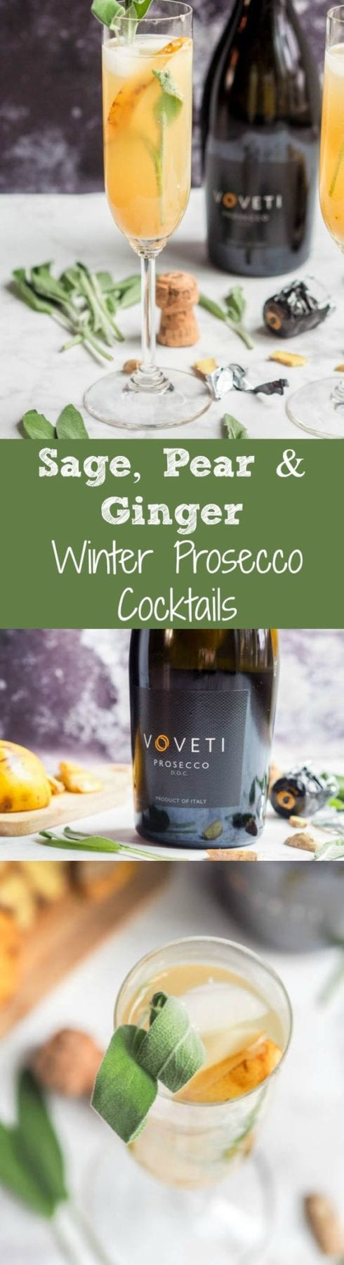 These winter prosecco cocktails are made with sage, pear and ginger for a super chic and fragrant yet easy to make winter themed adult beverage.