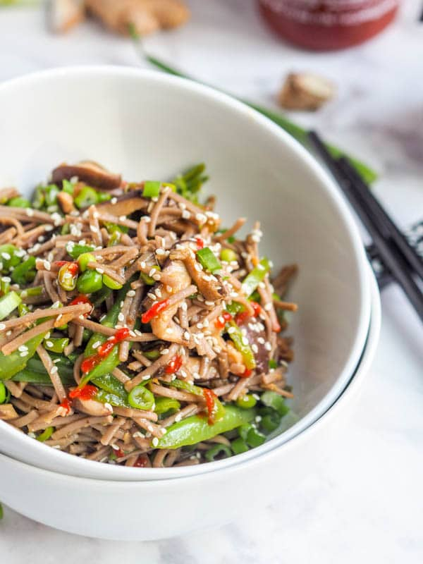 Vegan Soba Noodle Stir Fry with veggies