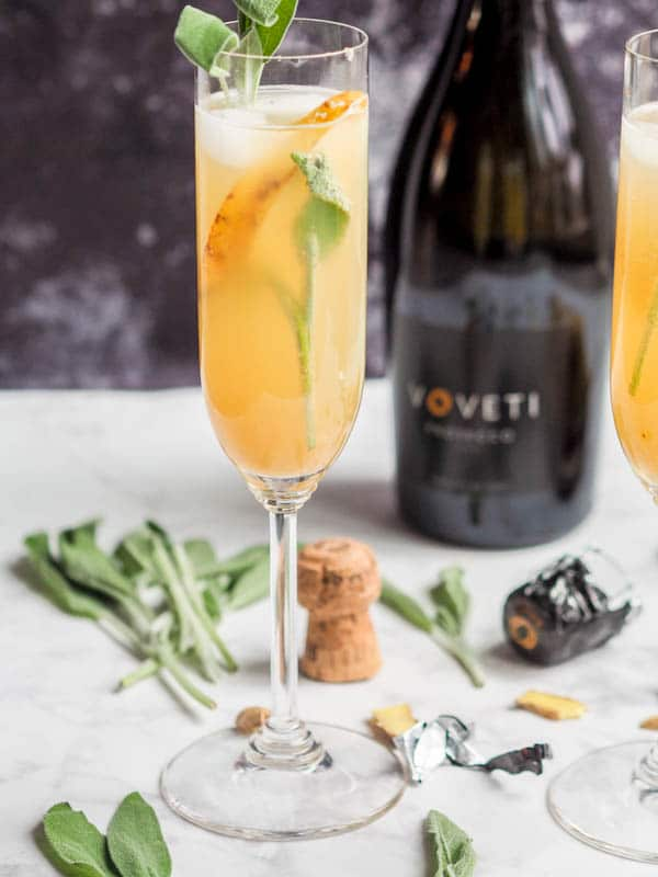 Winter Prosecco Cocktails with Sage Pear and  Ginger
