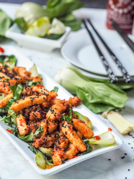 30 minute Thai red curry calamari steak makes for the perfect Asian seafood dinner. Made with aromatic, lemongrass, ginger, shallots, red curry paste, and fish sauce. Gluten Free and Dairy Free.  | avocadopesto.com
