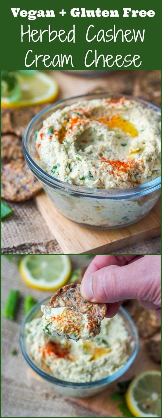 Six ingredient vegan cream cheese that is herb flavored with scallions and cilantro. GF + Paleo too. Makes for a perfect spread or dip for crackers. #vegan #paleo #vegancreamcheese #dips #healthy