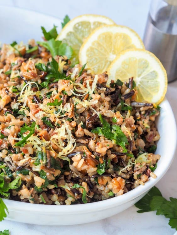 vegan wild rice salad with walnuts, lemons, parsley and nutritional yeast