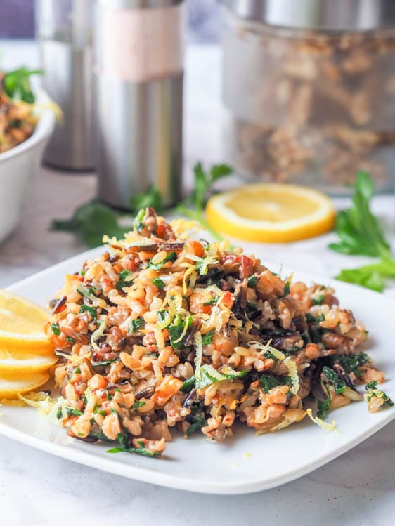plated vegan wild rice salad with walnuts, lemons, parsley and nutritional yeast