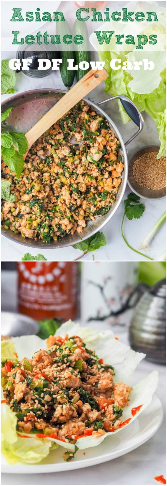 Have dinner on the table in 30 mins or less with these low carb high protein Asian chicken lettuce wraps which are brimming with vibrant flavors from the green onions, mint, cilantro and cucumbers. Bound to be your new favorite weeknight meal. Gluten-Free & Dairy Free #chicken #asian #dairyfree #glutenfree