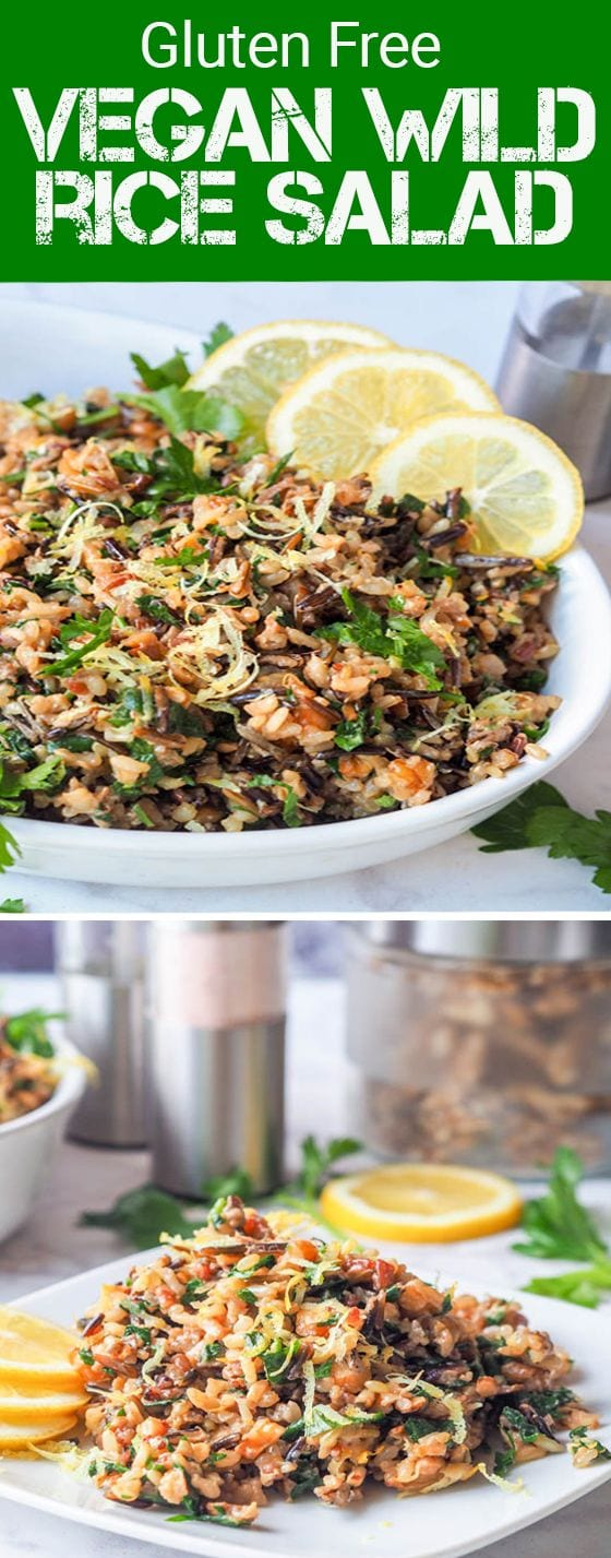 This vegan wild rice salad with walnuts, lemons, parsley and nutritional yeast makes for the perfect dinner side dish or even full entree. Gluten Free too. #vegan #salad #dinner #sidedish #fall