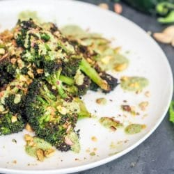 The best vegan vegetable side dish of all time - broccoli steak with cilantro jalapeno pistachio pesto. One of my all time favorite veggie recipes. Gluten Free too!