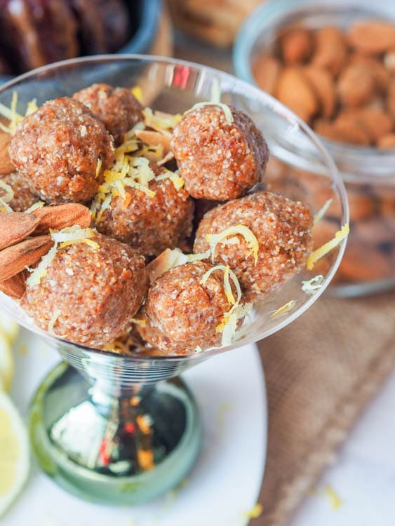 date energy balls sprinkled with lemon zest