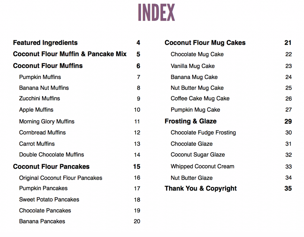 coconut flour cookbook recipe index