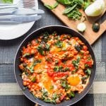 This quick shortcut fusion shakshuka is a breakfast egg dish made with onions, spices, chickpeas and tomatoes. A hearty high protein breakfast. GF & DF.