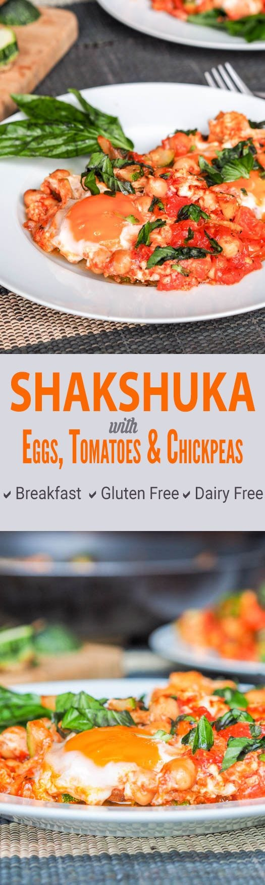This quick shortcut fusion shakshuka is a breakfast egg dish made with onions, spices, chickpeas and tomatoes. A hearty high protein breakfast. GF & DF. #breakfast #healthy #eggs #glutenfree #dairyfree