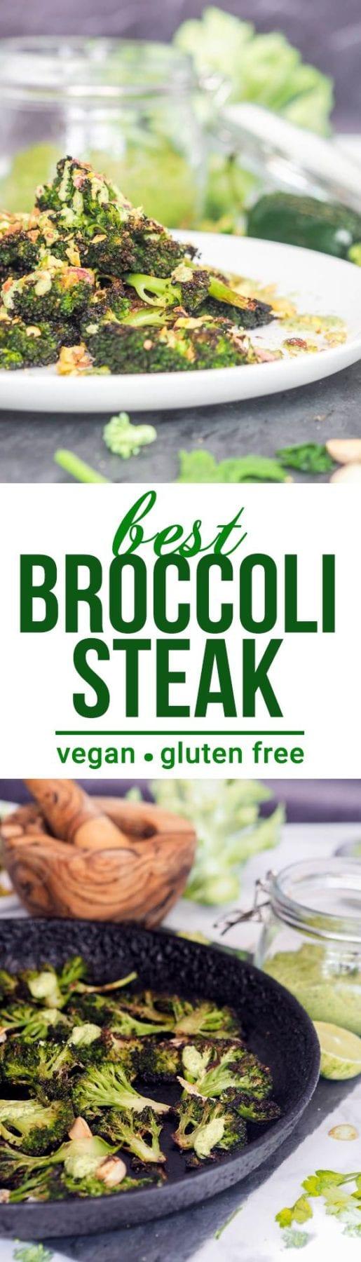 The best vegan vegetable side dish of all time - broccoli steak with cilantro jalapeno pistachio pesto. One of my all time favorite veggie recipes. Gluten Free too! #vegan #sidedish #glutenfree #healthy #broccoli