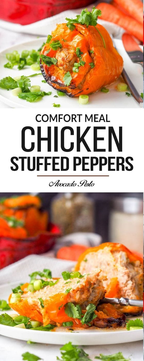 The ultimate comfort meal - chicken stuffed peppers with rice and carrots. A five ingredient recipe that is sure to be a family favorite. Gluten-Free Dairy Free & Paleo too! #paleo #chicken #dinner #healthy #glutenfree
