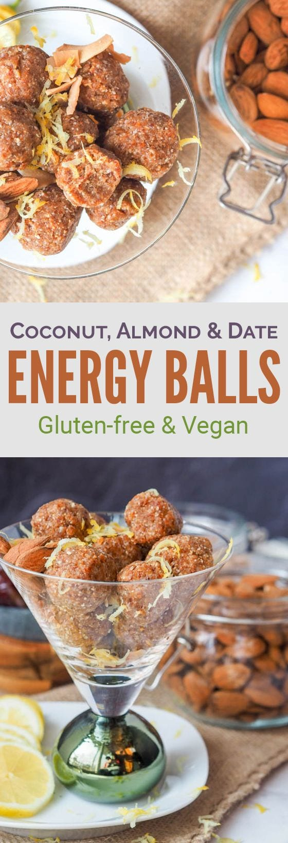 Five ingredient coconut almond date energy bites come together in under 15 minutes and make for a super zesty and refreshing snack that is also healthy, gluten-free, vegan and refined sugar free. #snack #energyballs #bites #healthy #vegan #glutenfree