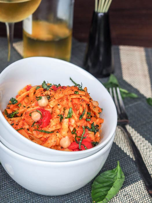 creamy with chickpeas, tomatoes and pumpkin.